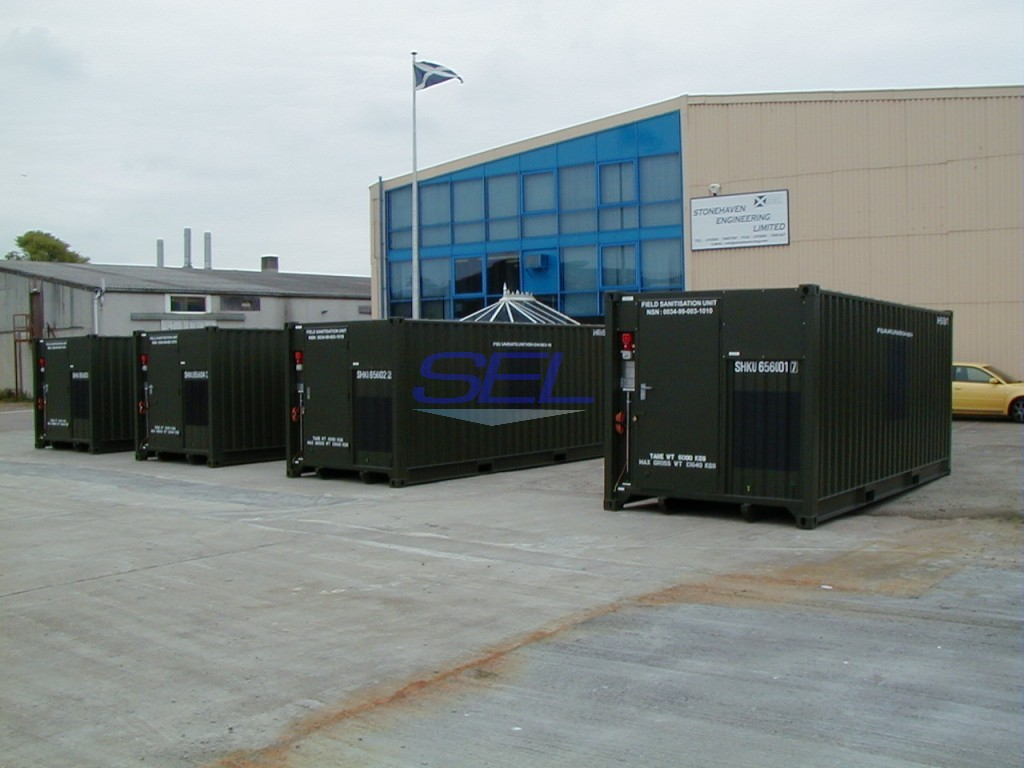 Containerised Sanitisation Units Awaiting Despatch